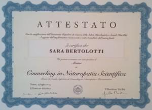 ATTESTATO Naturopatia Scientifica